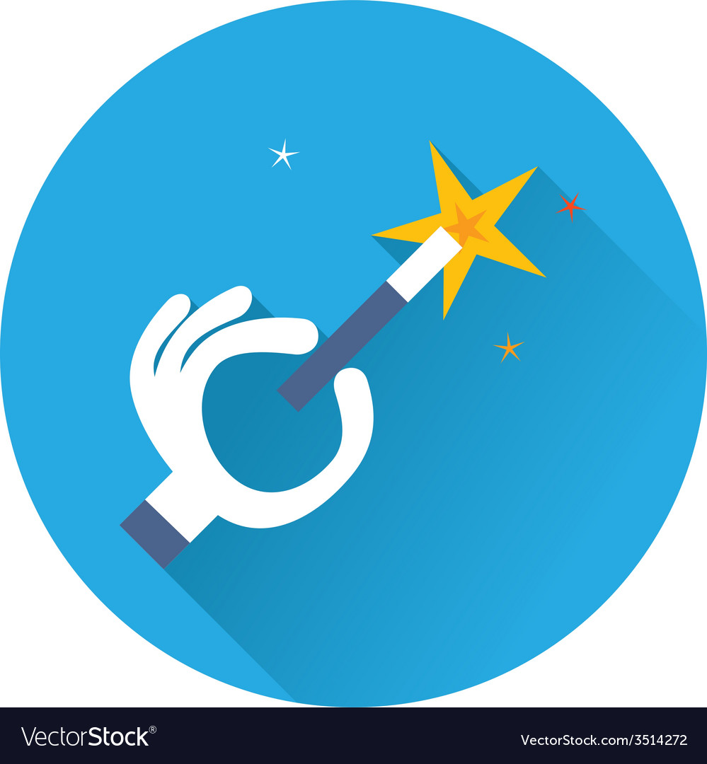 Magician hand with a magic wand vector image