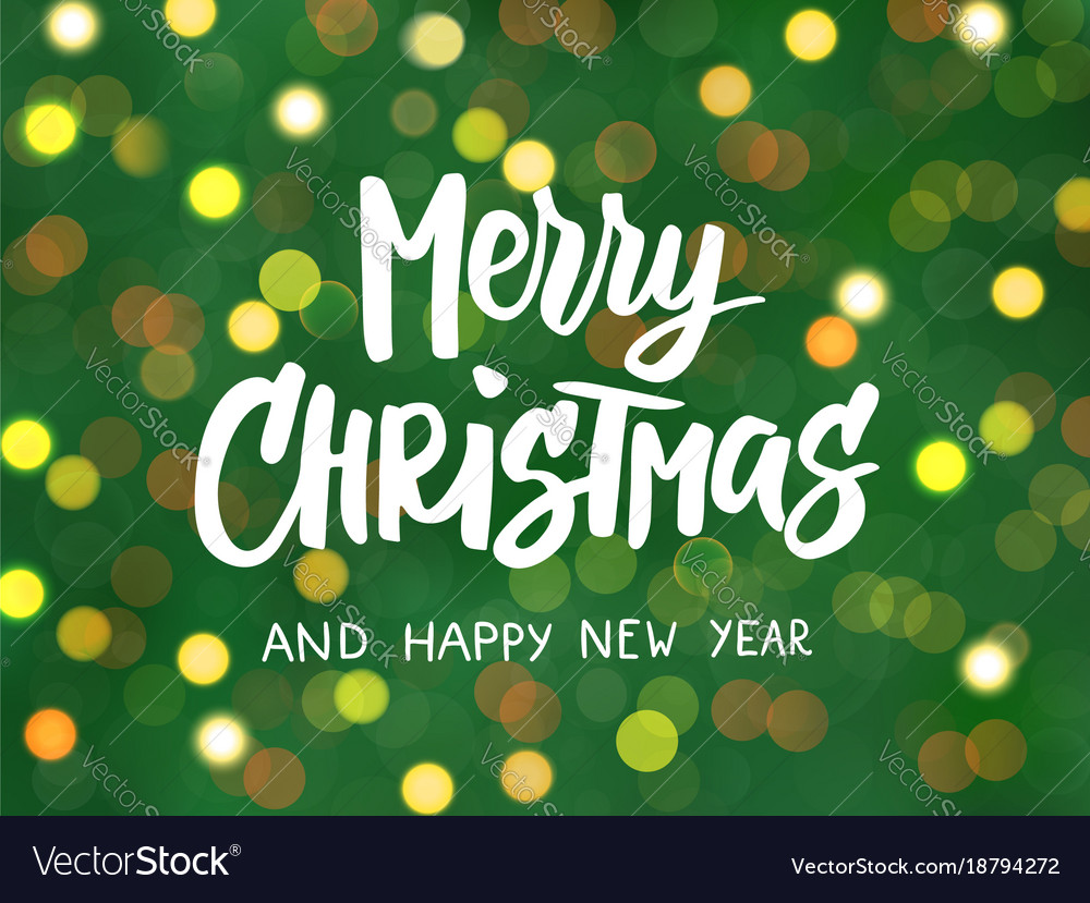 Merry christmas and happy new year text hand