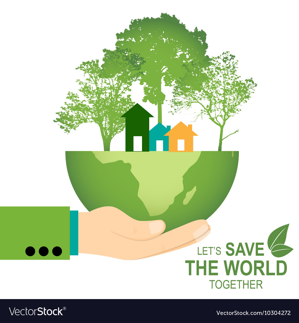 Save the world poster design template with hand vector image