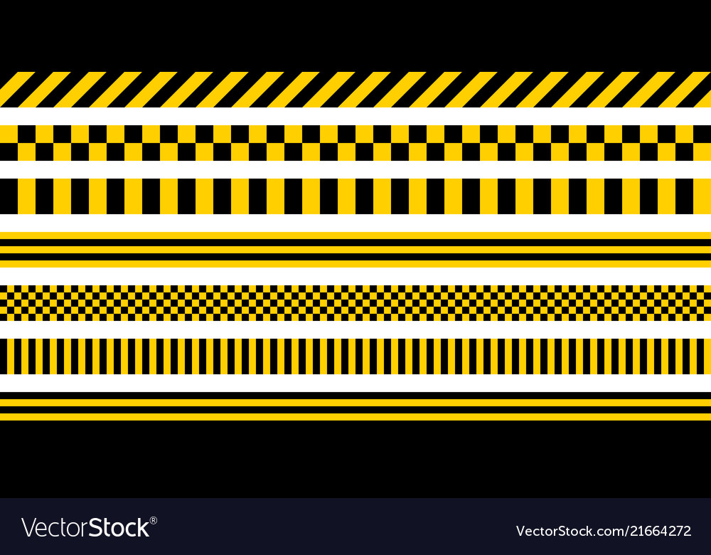 Set stripes yellow black color industrial pattern