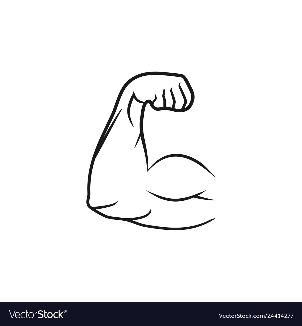 Biceps muscle arm line style and flat design
