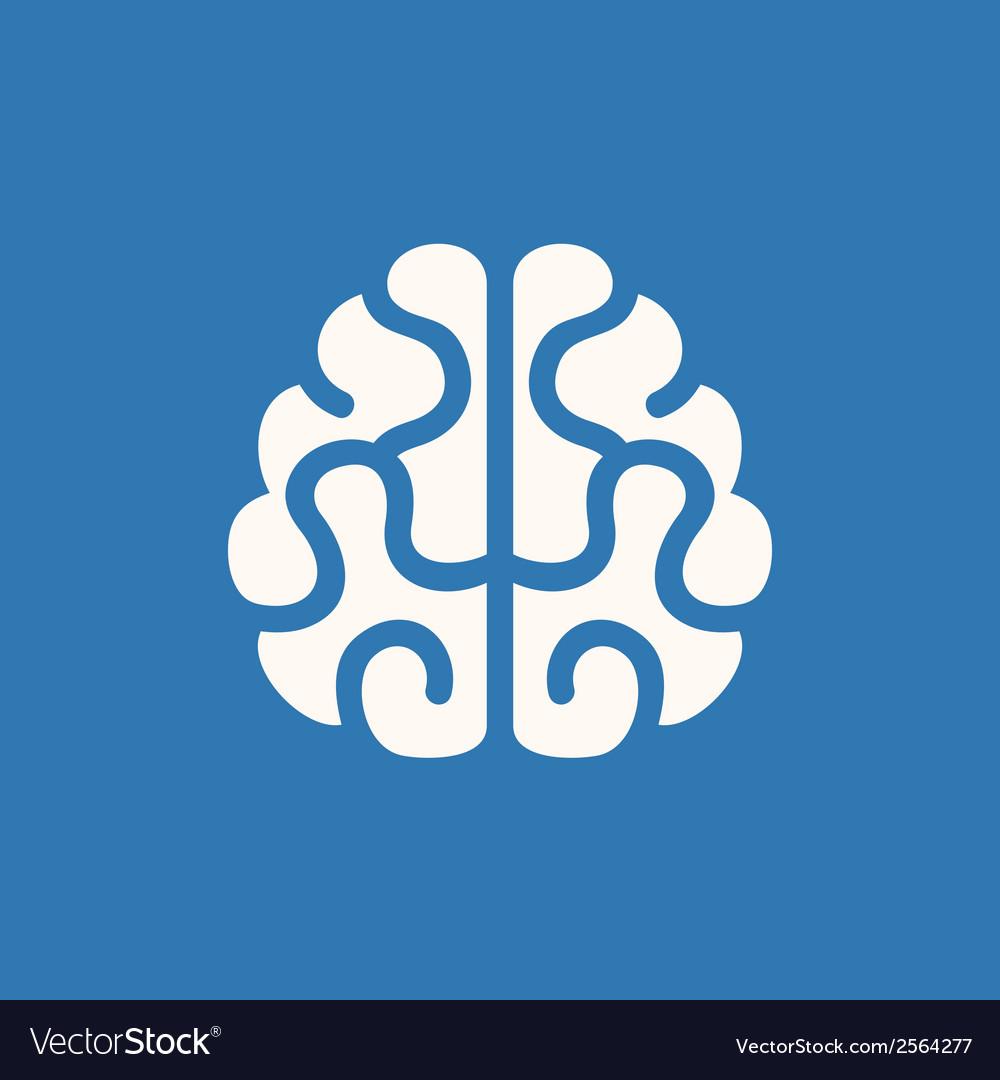Brain Icon on Blue Background