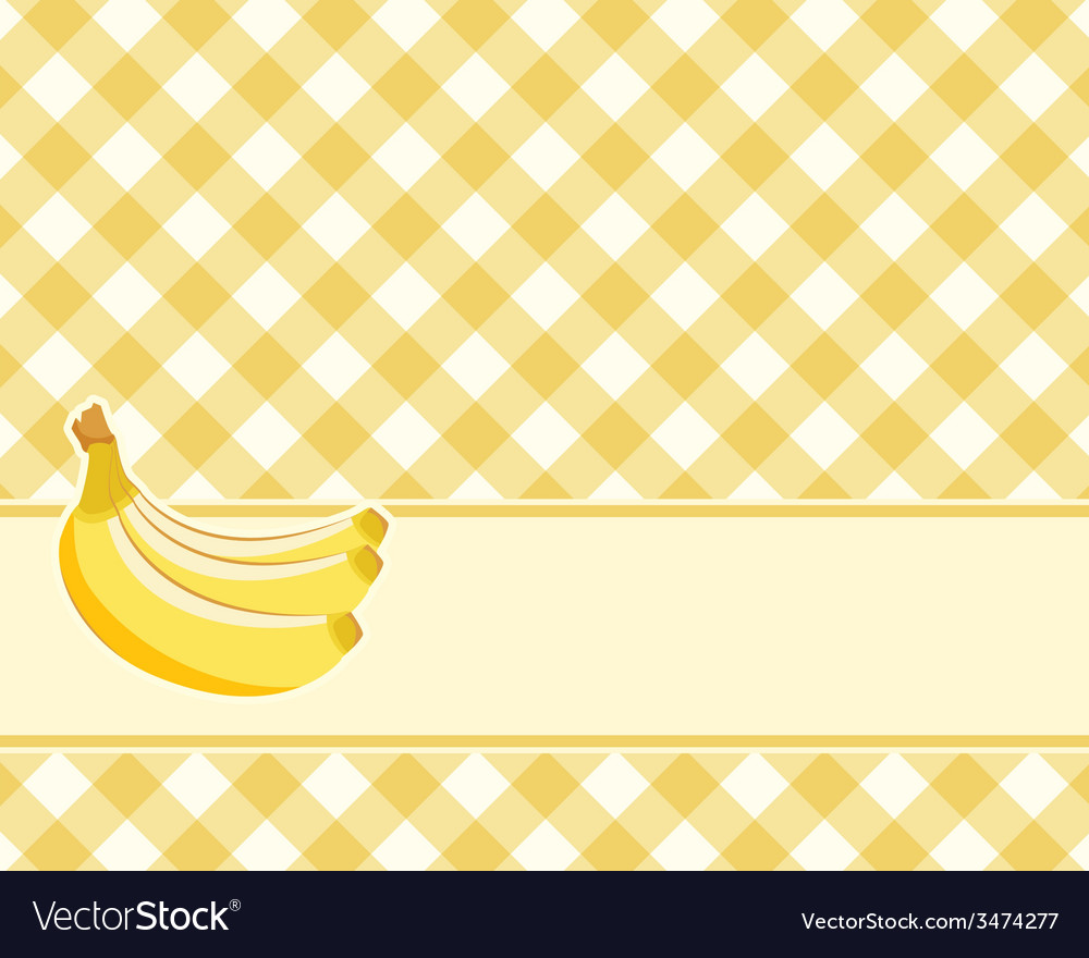 Checkered yellow background with bananas vector image
