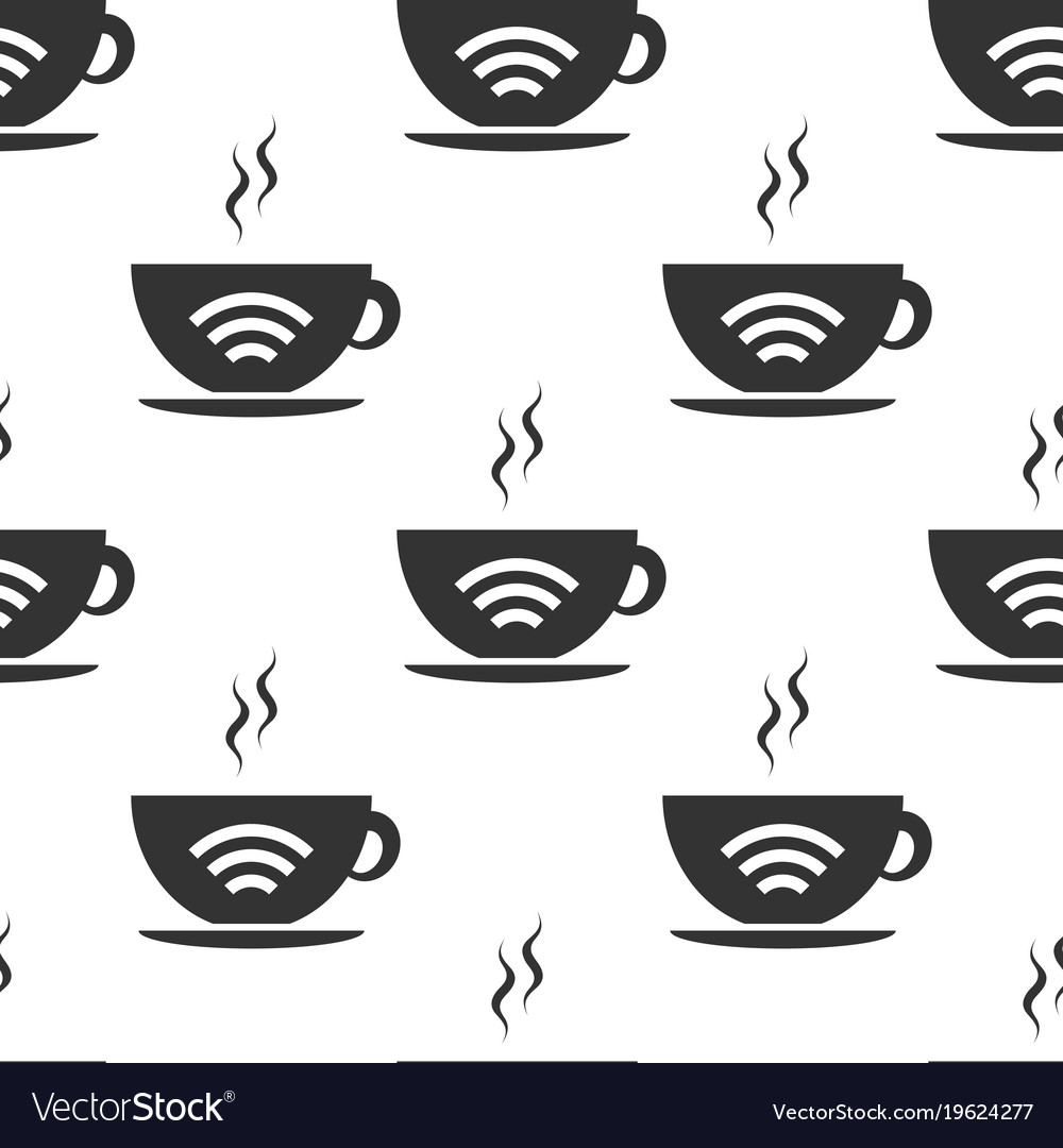 Cup of coffee shop with free wifi zone sign vector image
