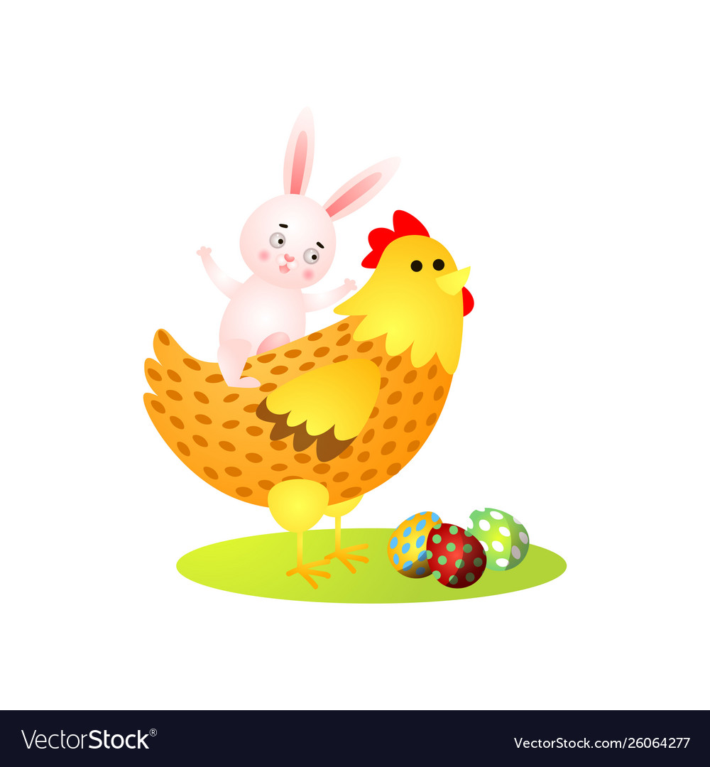 Cute happy easter rabbit ride on gold chicken