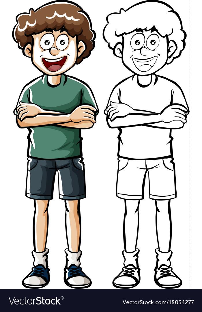 Doodle human character for teenage boy