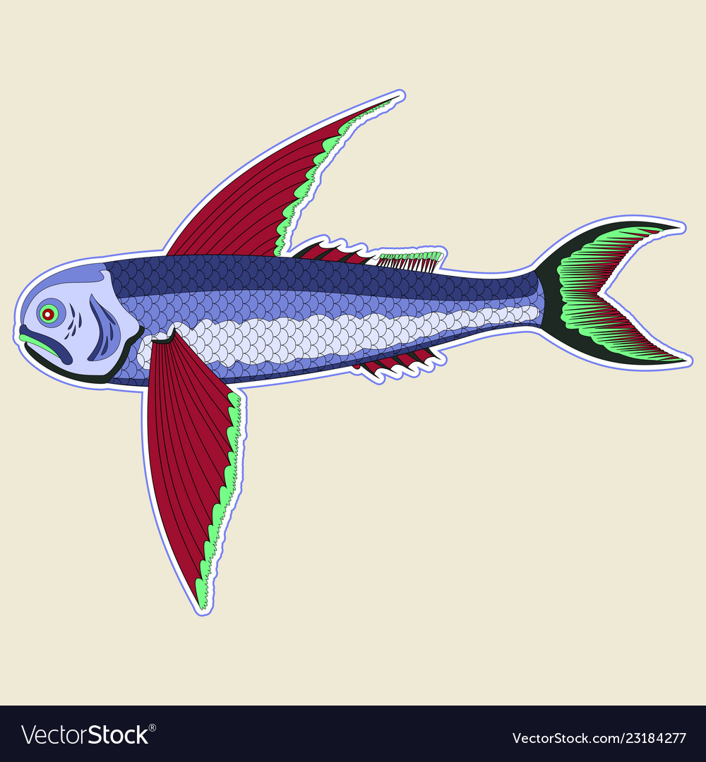 Flying monster fish with large red fins