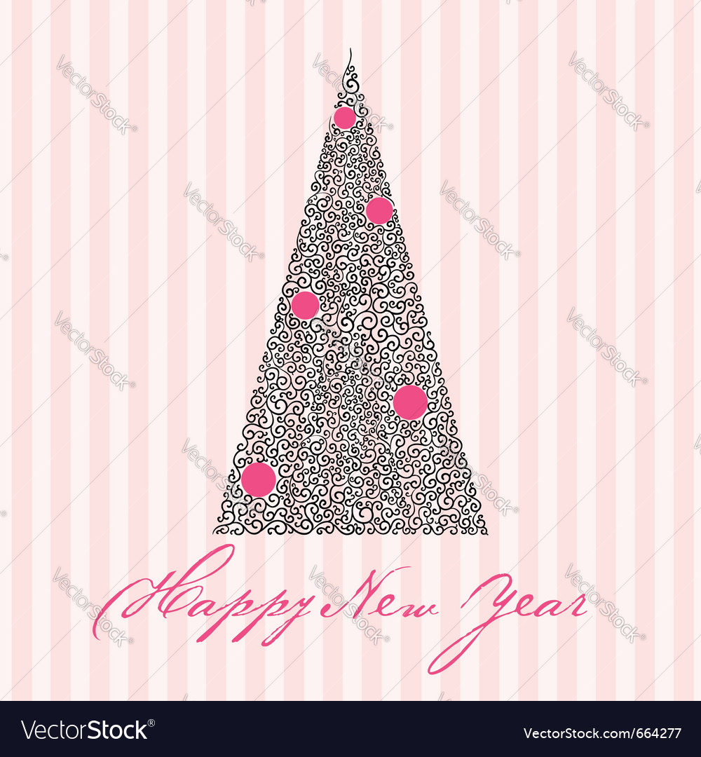 Greeting card with new year tree
