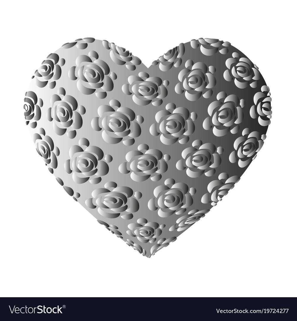 Large volume grey heart with roses