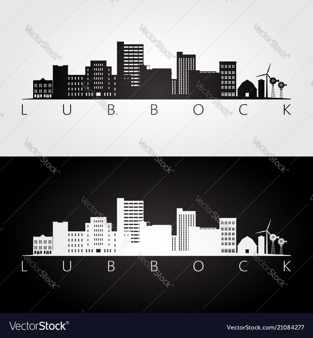 Lubbock usa skyline and landmarks silhouette