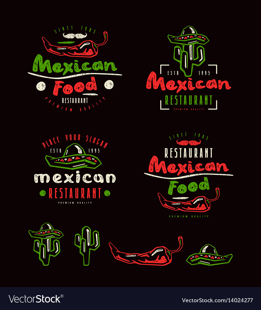 Mexican food labels badges and design elements