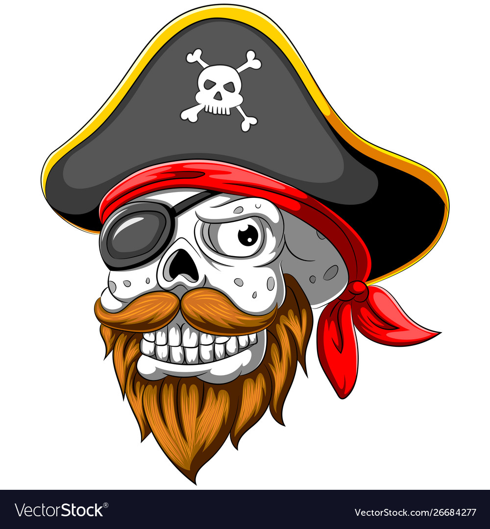 Pirate skull with hat and eye patch