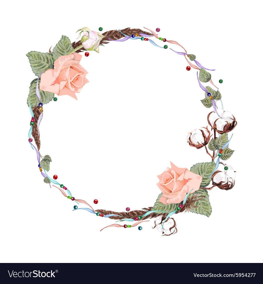 Rose and cotton wreath2 vector image