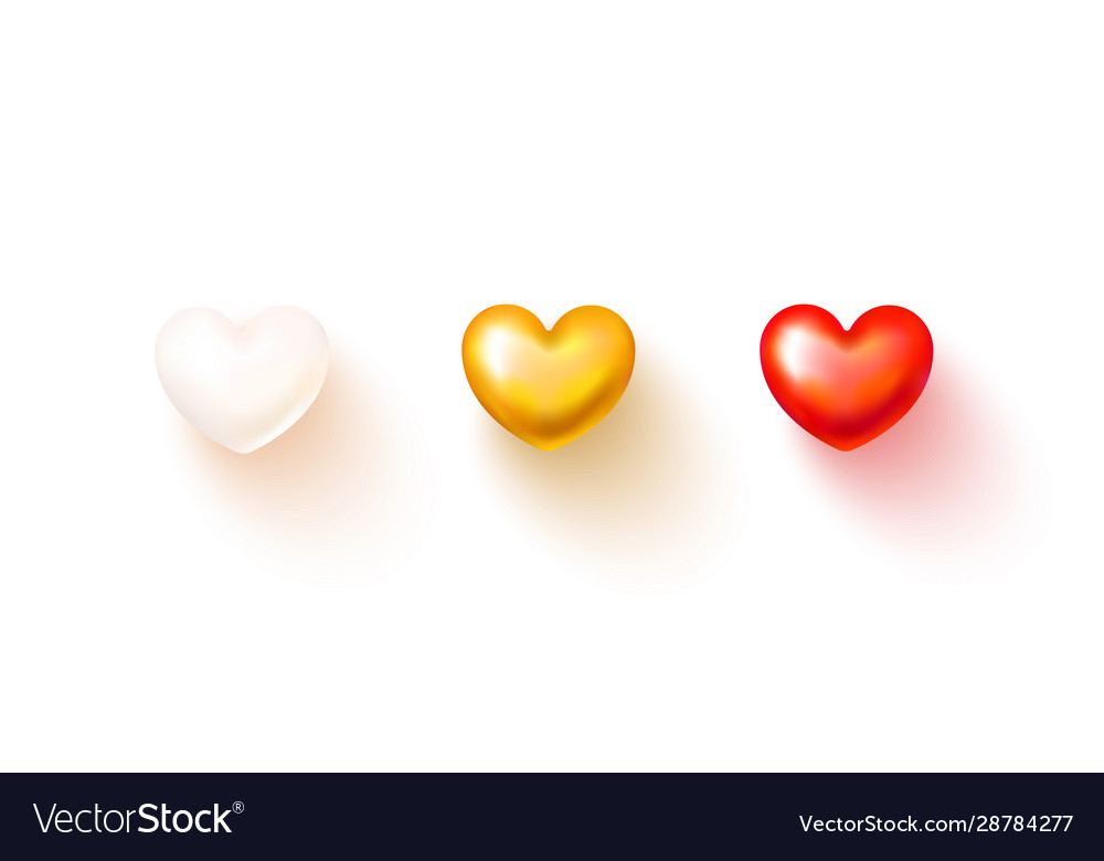 Set realistic hearts isolated on transparent