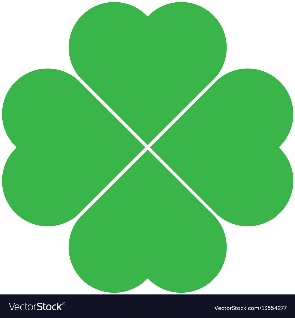 Shamrock - green four leaf clover icon good luck
