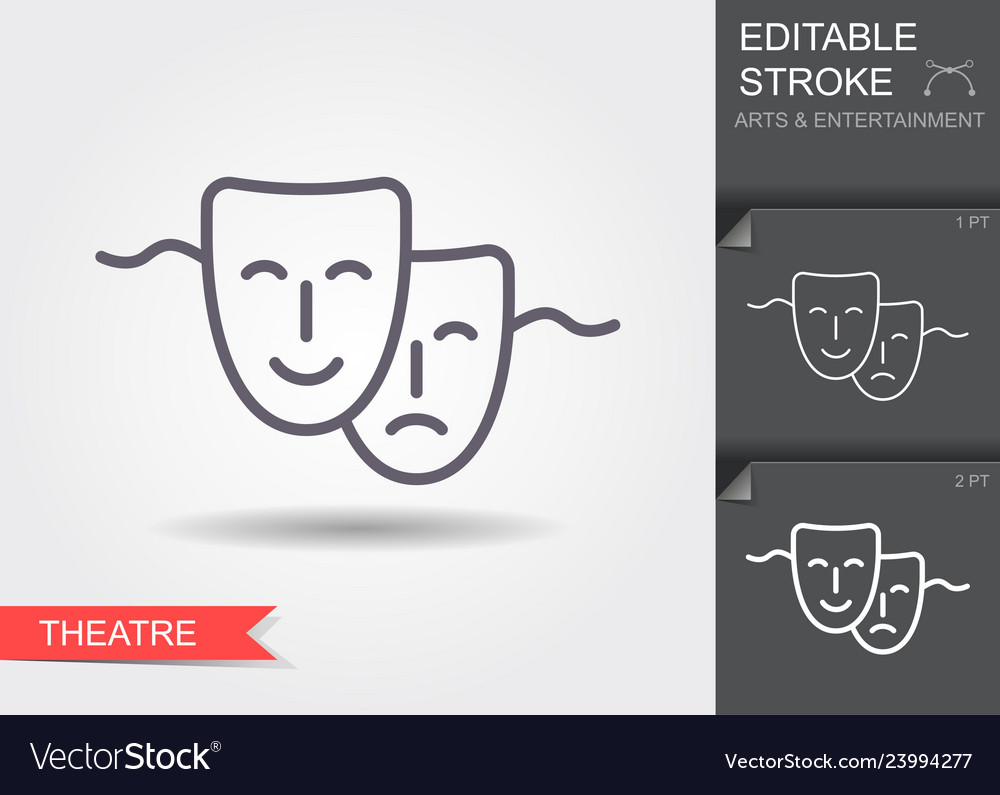 Theatrical mask line icon with shadow and
