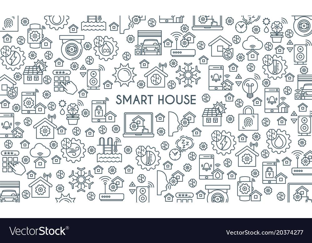 Thin line design smart home banner