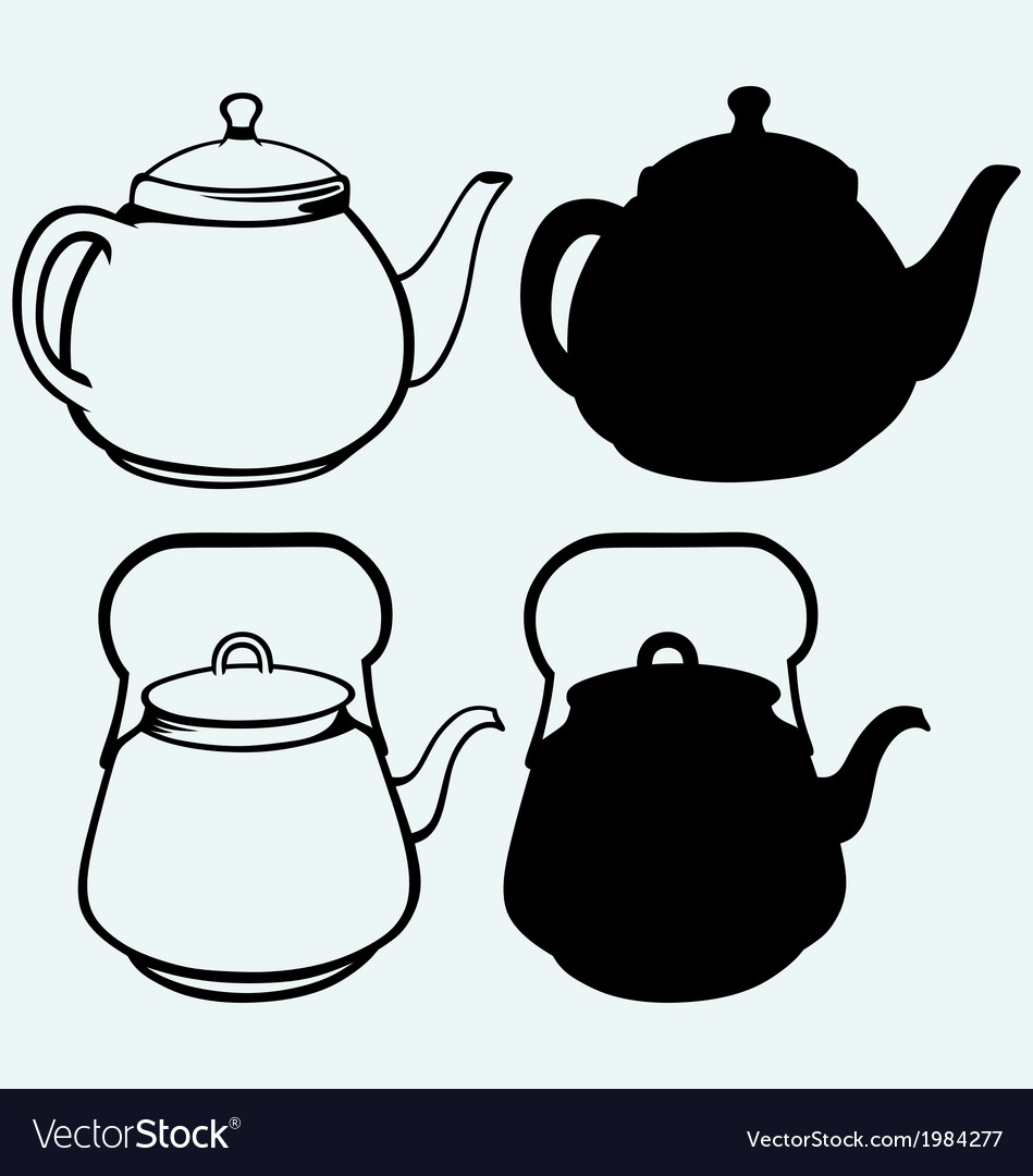 Vintage metal kettle vector image