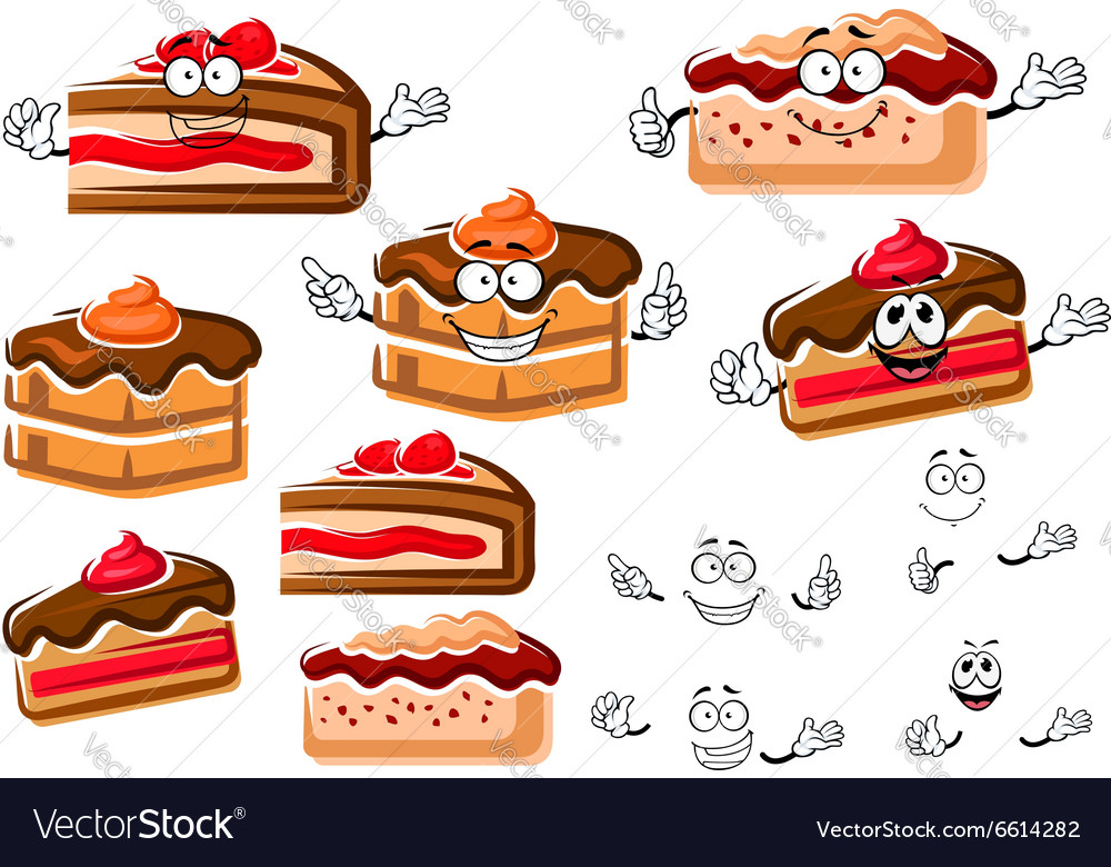 Cartoon chocolate cakes and berry pies