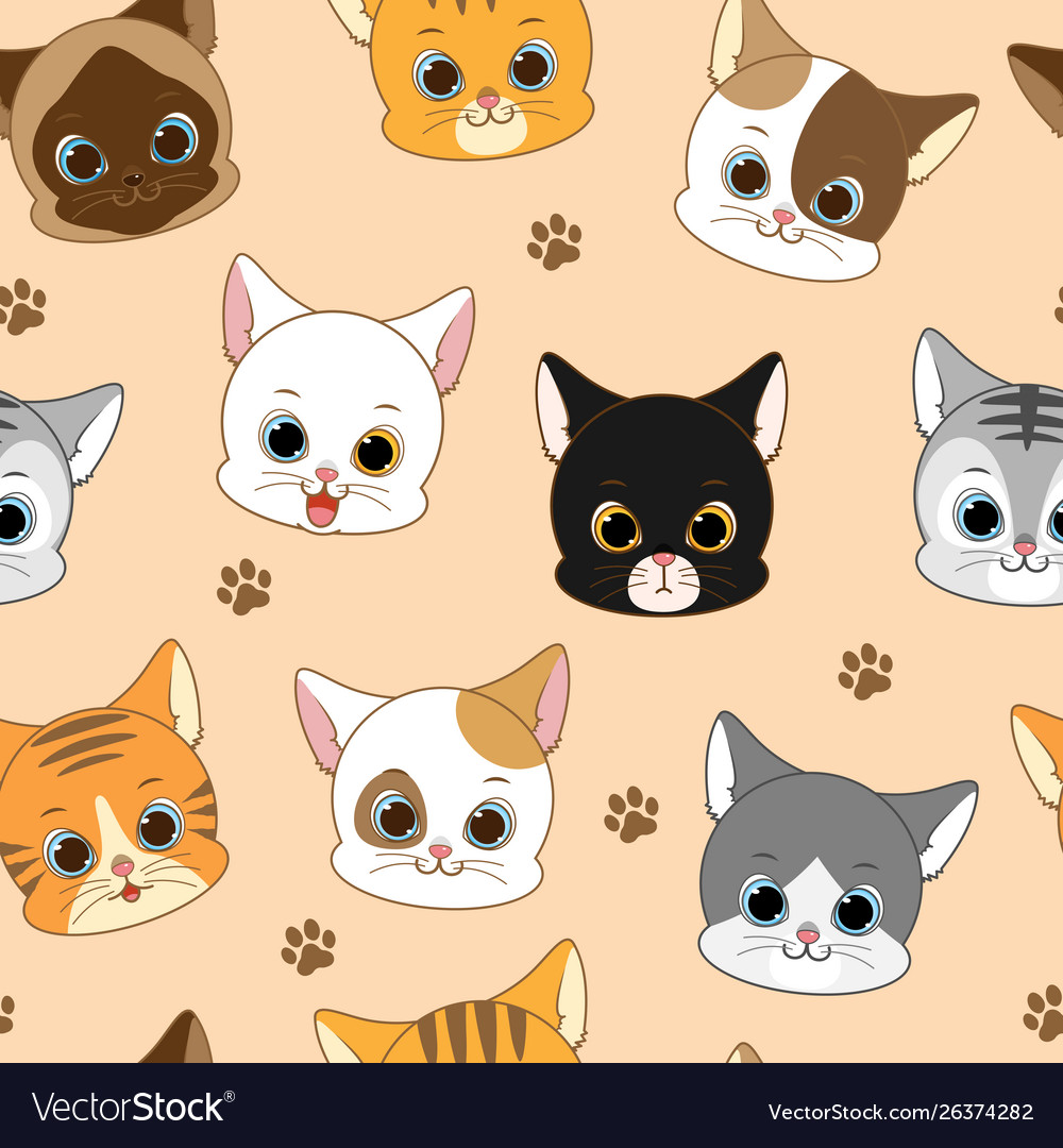 Cute smiling cat head seamless pattern vector