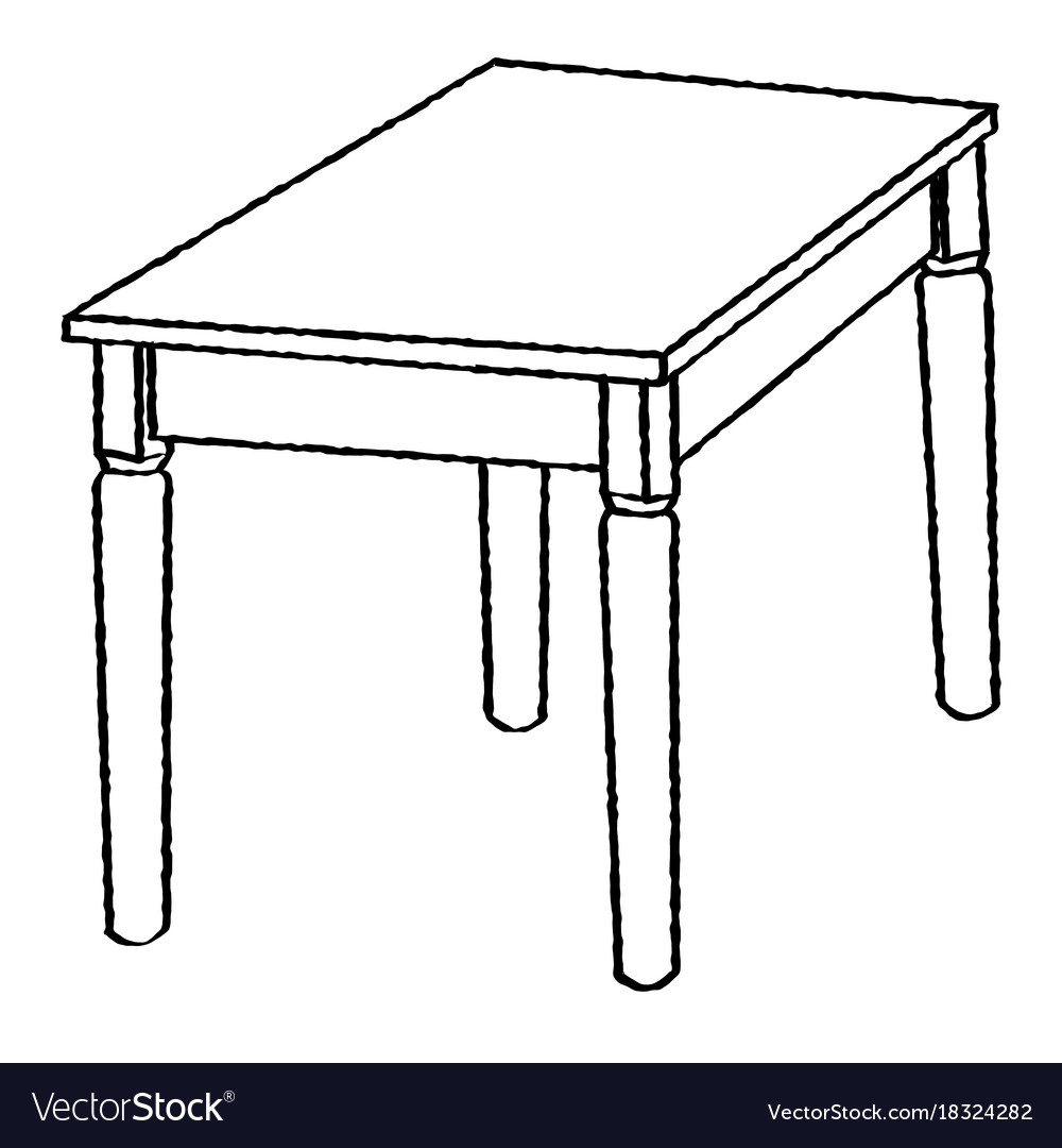 Line drawing of table -simple line