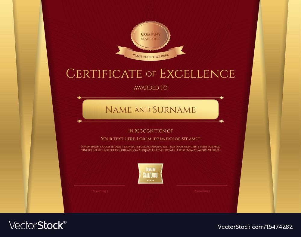 Elegant Marriage Certificate Template Golden Edition: Luxury Certificate Template With Elegant Golden Vector Image