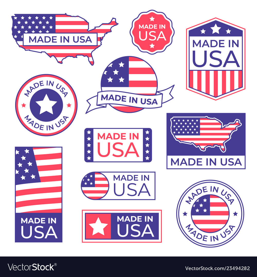 Made in usa label american flag proud stamp made