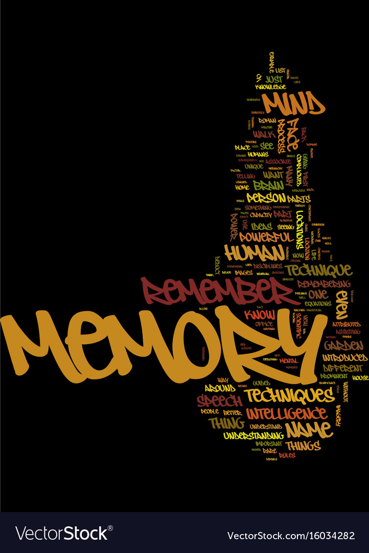 Memory techniques tips text background word cloud
