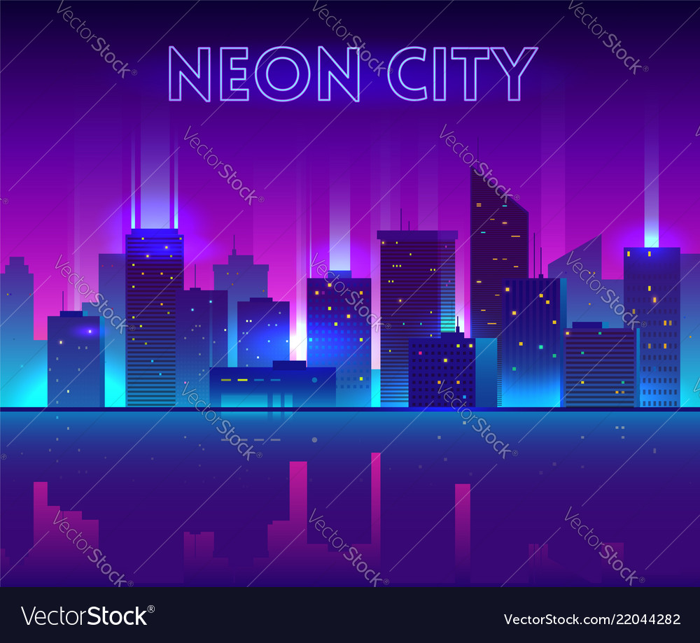 Night city with neon glow