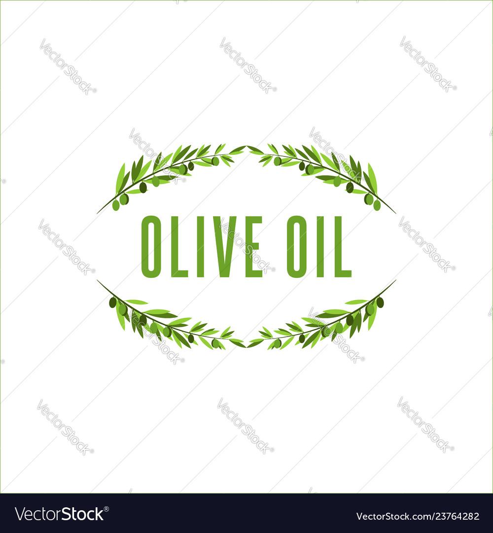 Olive tree branch frame with olive fruit floral