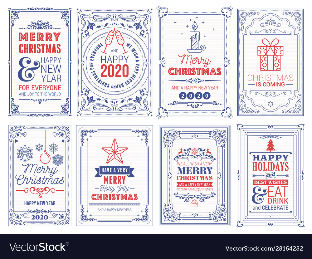 Ornate square winter holidays greeting cards with