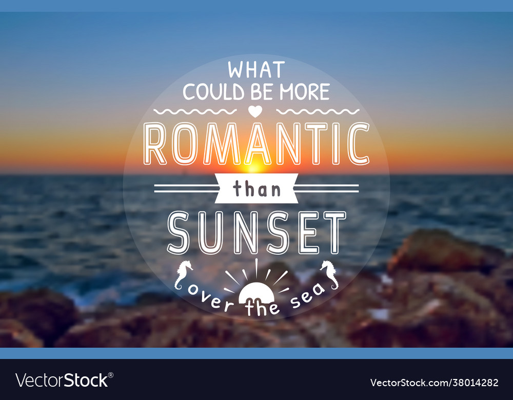 Romantic card with sunset blurred background