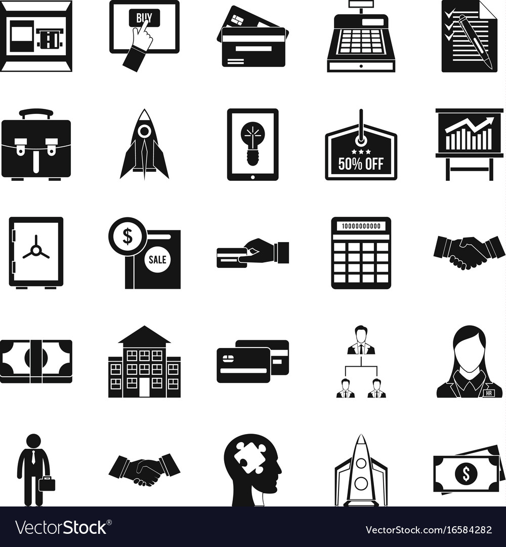 Seo development icons set simple style