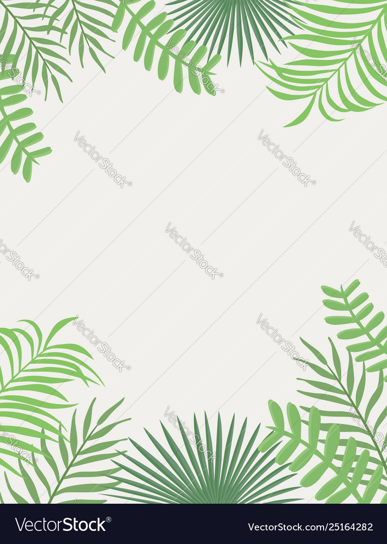Tropical frame green leaves white background
