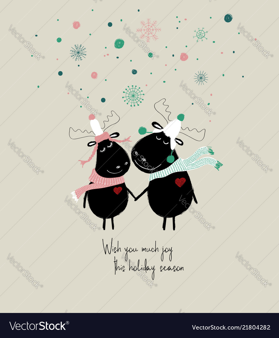Winter card with couple cute moose