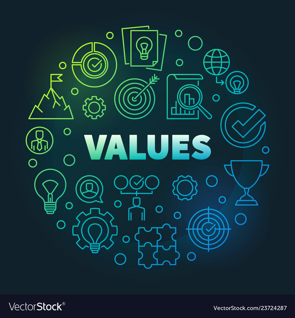 Business Values Round Colored Linear Royalty Free Vector