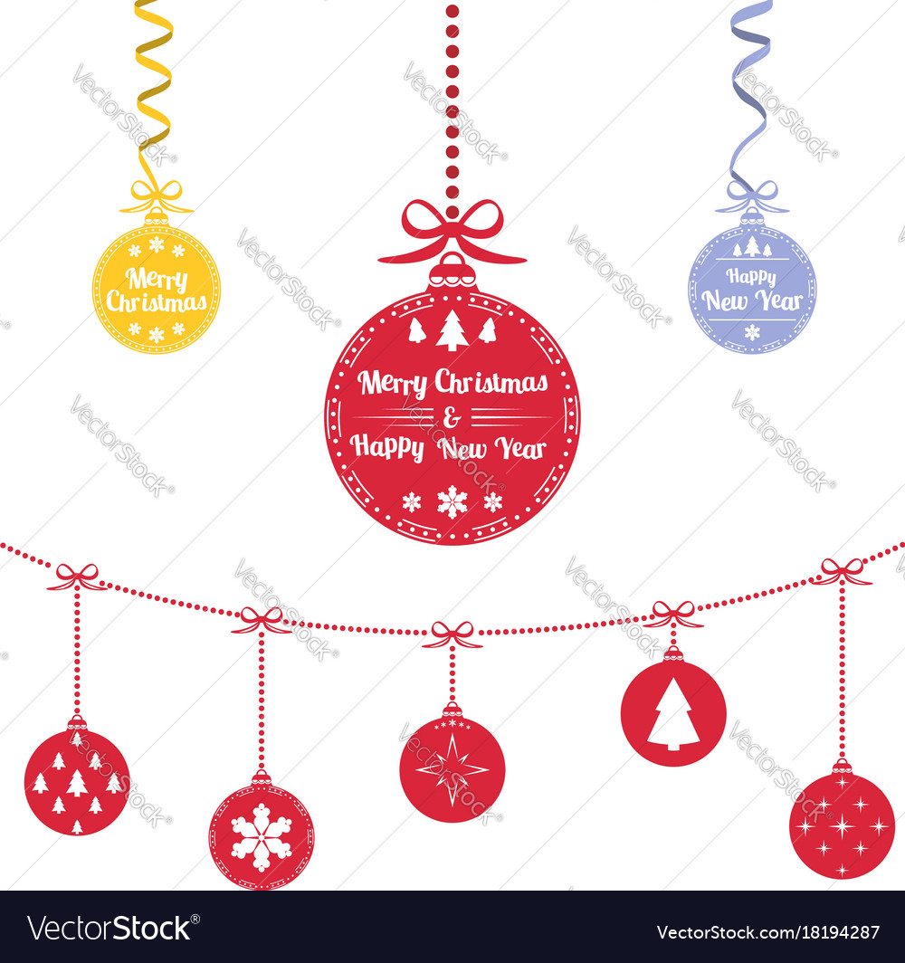 Colored christmas ball christmas ornaments Vector Image