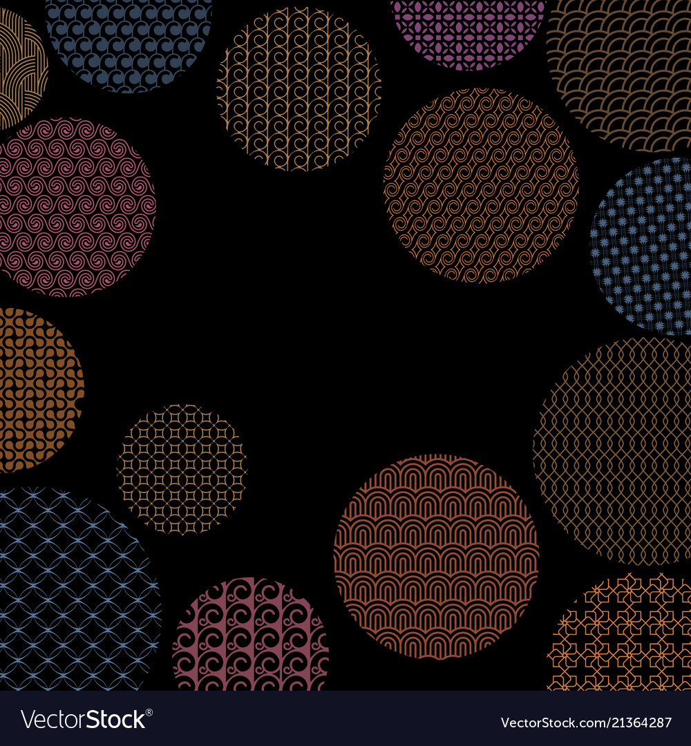 Colored circles with different geometric patterns