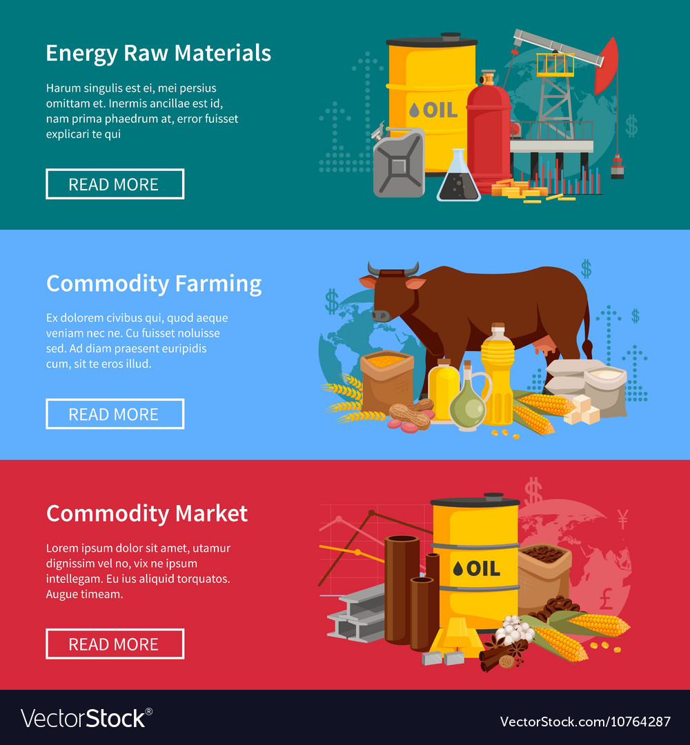 Commodity Flat Horizontal Banners vector image