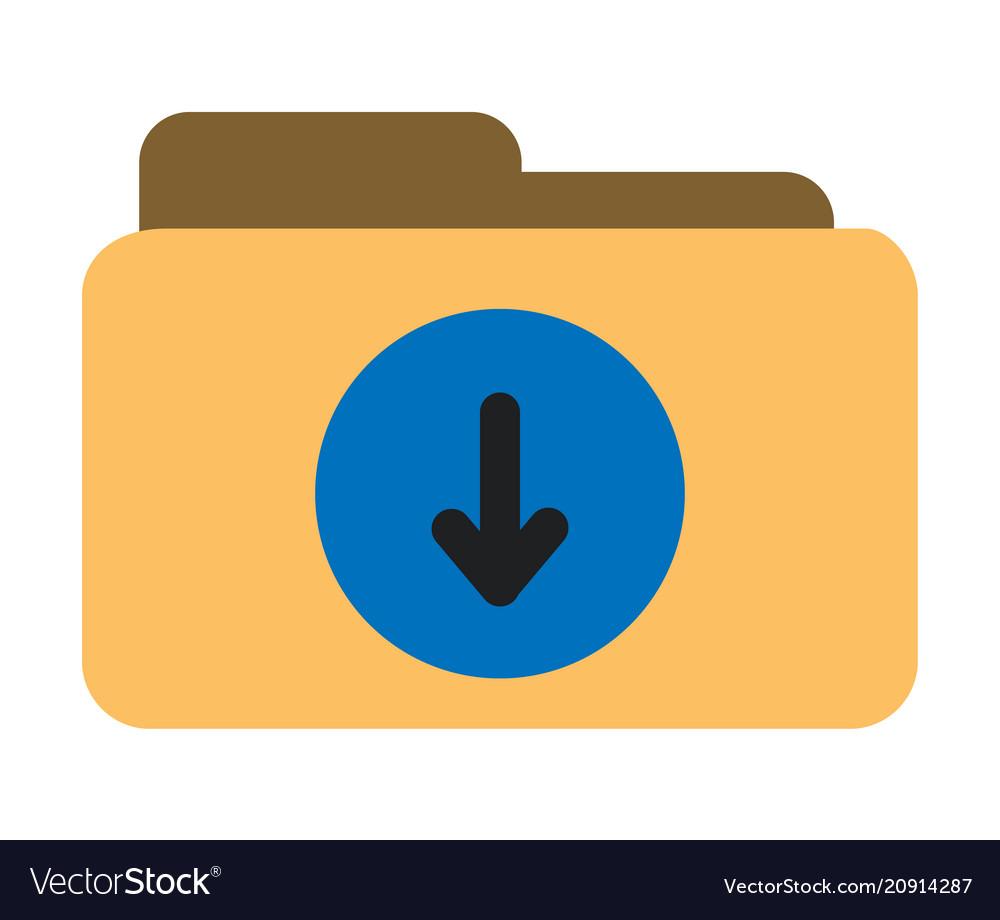 Download folder icon on white background flat