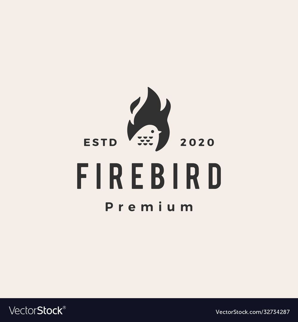 Fire flame bird hipster vintage logo icon