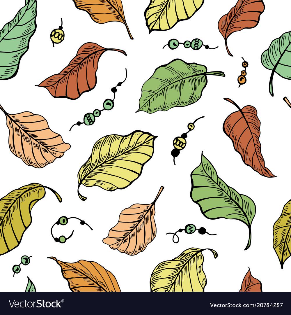 Foliage seamless plant pattern background