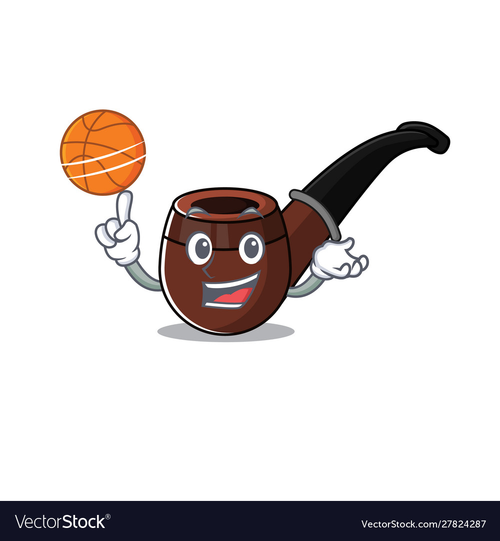 Funny Smoke Pipe In Holding Basketball Cartoon Vector Image