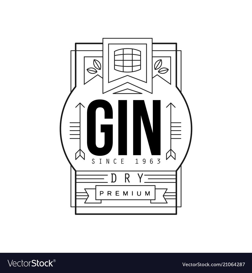 Gin vintage label design dry strong drink