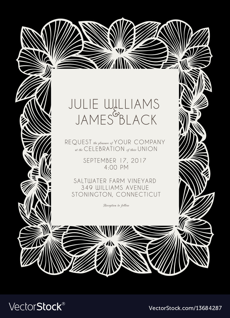 Laser cut wedding invitation with orchid flowers