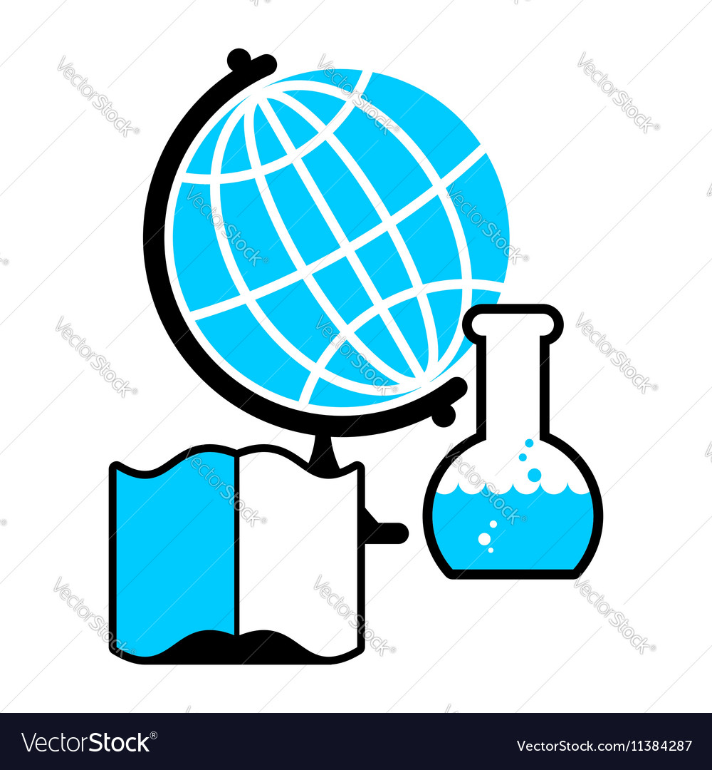 Science logo Globe and laboratory flask Book and