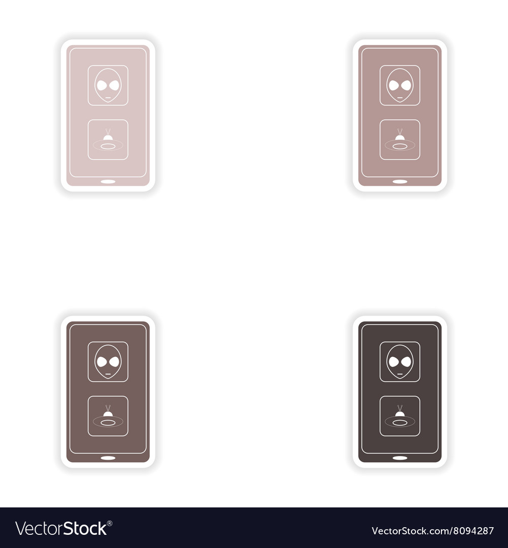 Set of paper stickers on white background mobile