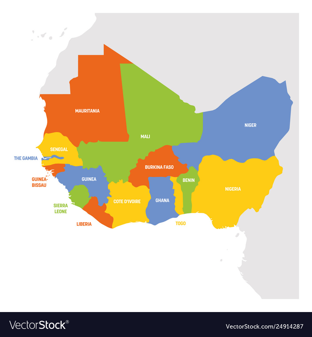 Map Of Western Africa Region West africa region map countries in western Vector Image
