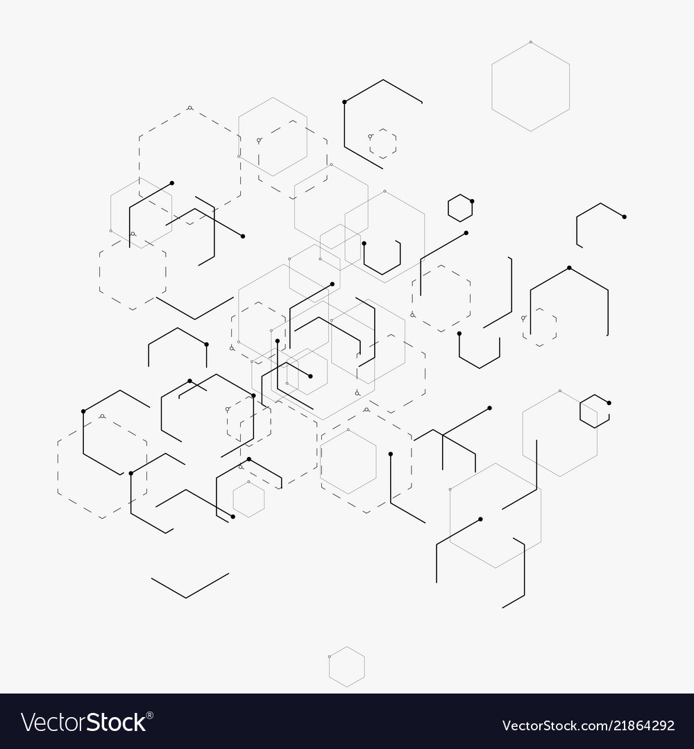 Abstract with hexagons lines