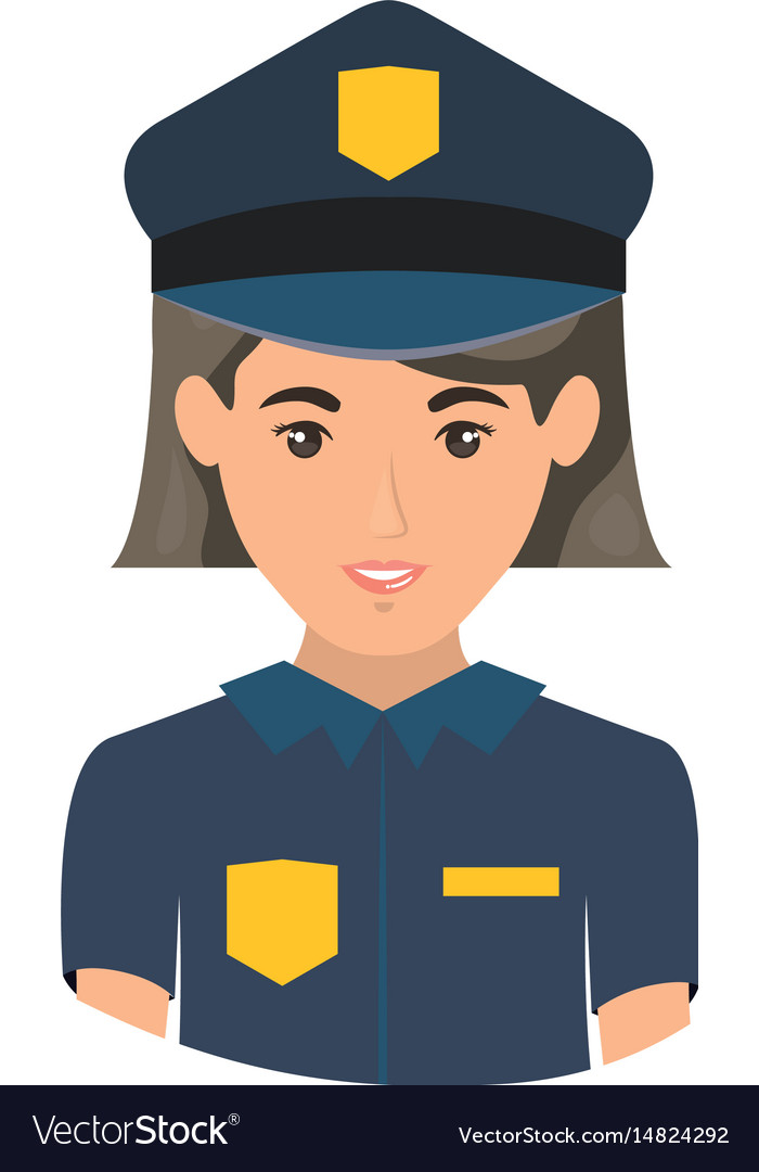 Colorful portrait half body of policewoman